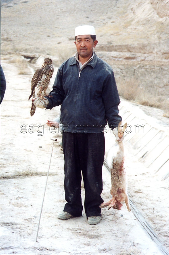 Chinese Falconer with Goshawk and hare